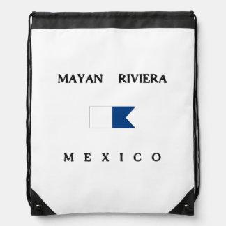 Bandera alfa maya de la zambullida de Riviera Mochila