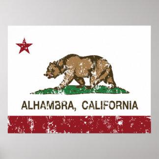Bandera Alhambra del estado de California Póster