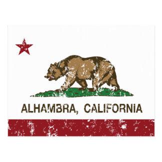 Bandera Alhambra del estado de California Postales