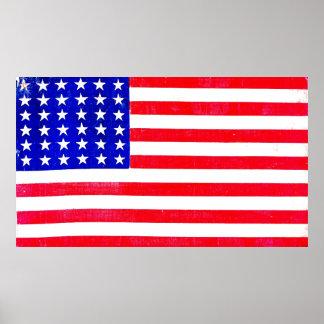 Bandera americana 1865 de la guerra civil póster