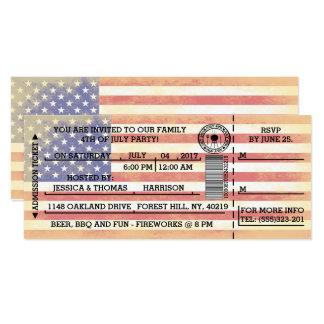 Bandera americana 4ta del vintage del billete de invitación 10,1 x 23,5 cm