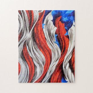 Bandera americana artística puzzle