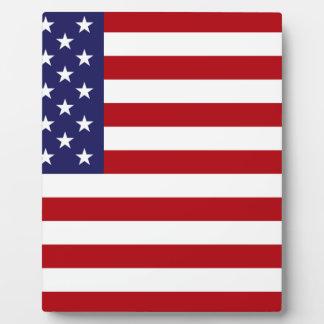 Bandera americana - barras y estrellas - vieja placa expositora