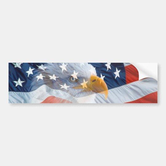 Bandera americana calva patriótica de Eagle Pegatina Para Coche