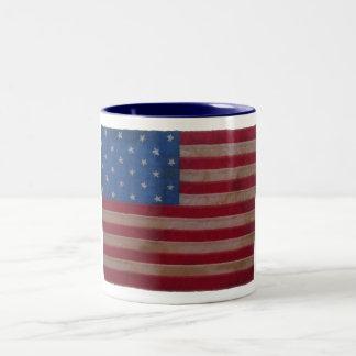 Bandera americana con 24 estrellas taza de café