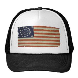 Bandera americana con 34 estrellas gorros