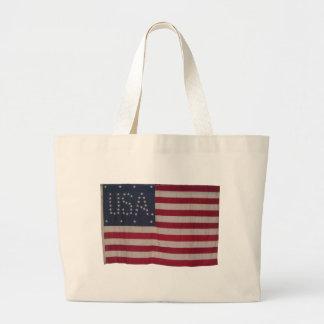 Bandera americana con 48 estrellas que deletrean l bolsa
