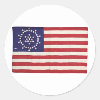 Bandera americana con 48 estrellas Whipple Pegatina Redonda