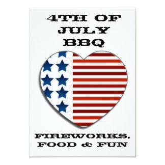 Bandera americana corazón invitación del 4 de