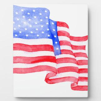 Bandera americana de la acuarela placa expositora