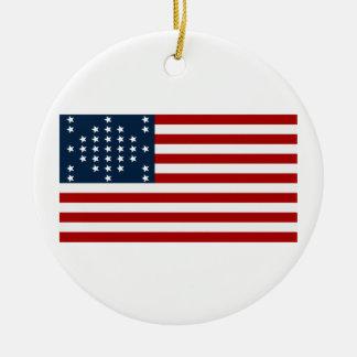 Bandera americana de la guerra civil de Sumter del Adorno Navideño Redondo De Cerámica