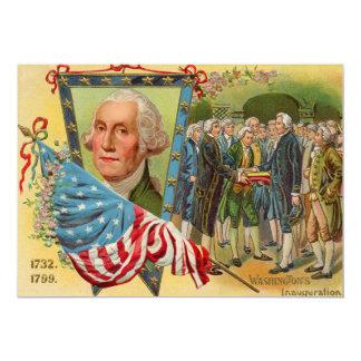 Bandera americana de la inauguración de George Invitación 12,7 X 17,8 Cm