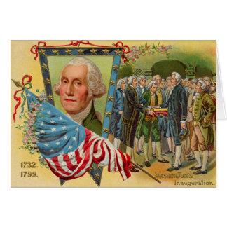 Bandera americana de la inauguración de George Tarjeta De Felicitación