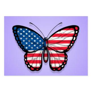 Bandera americana de la mariposa en púrpura tarjeta de visita