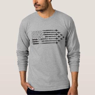 Bandera americana de las estelas de vapor del camiseta