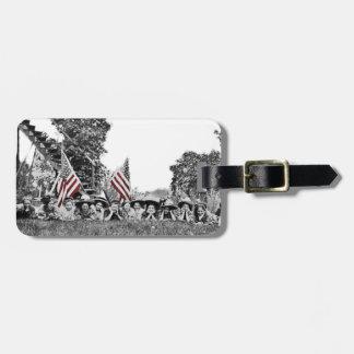 Bandera americana de las mujeres patrióticas del etiqueta para maletas