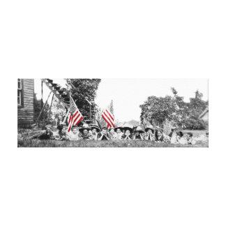 Bandera americana de las mujeres patrióticas del impresión en lienzo