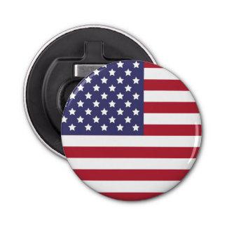 Bandera americana de los E.E.U.U. ningún texto Abrebotellas Redondo