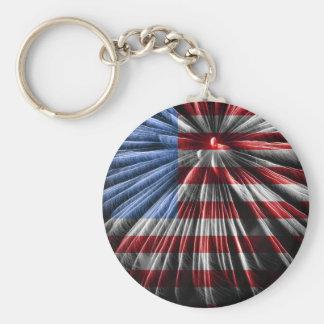 Bandera americana de los fuegos artificiales llavero redondo tipo chapa