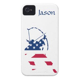 Bandera americana del archer del tiro al arco de carcasa para iPhone 4