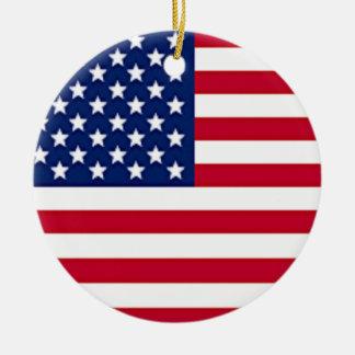 Bandera americana del Día de la Independencia Adorno Redondo De Cerámica