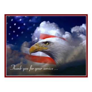 Bandera americana del día de veteranos y postal de