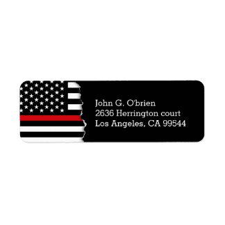 Bandera americana del estilo del bombero etiquetas de remite