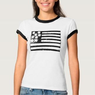 Bandera americana del Grunge B&W Camisetas