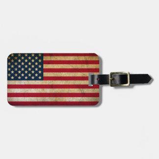 Bandera americana del Grunge del vintage Etiqueta Para Maletas
