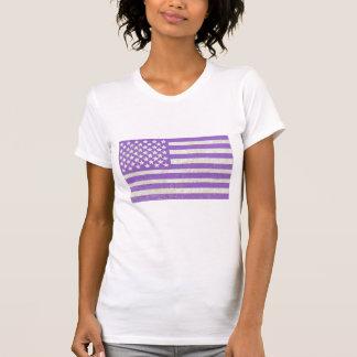 Bandera americana del grunge púrpura camisetas