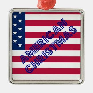 Bandera americana del navidad adorno navideño cuadrado de metal
