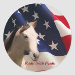 Bandera americana del pegatina del caballo