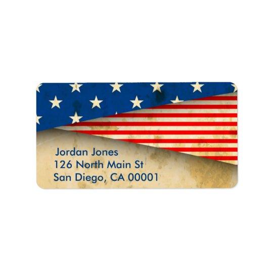 Bandera americana del vintage etiquetas de dirección
