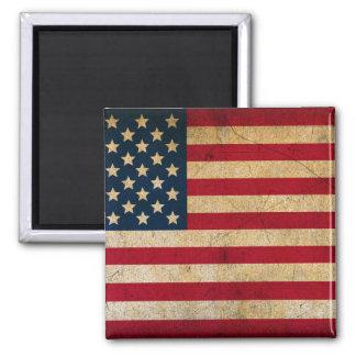 Bandera americana del vintage imán del cuadrado de