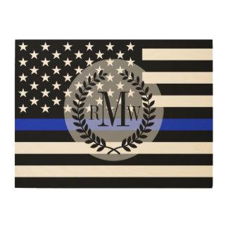 Bandera americana diseñada policía modificada para impresión en madera