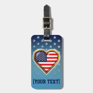 Bandera americana en forma de corazón etiqueta para maletas