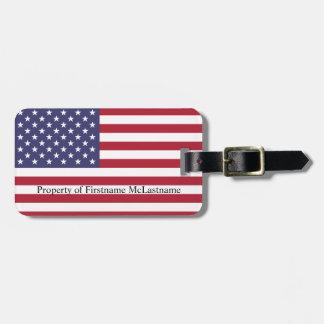 Bandera americana etiqueta para maletas
