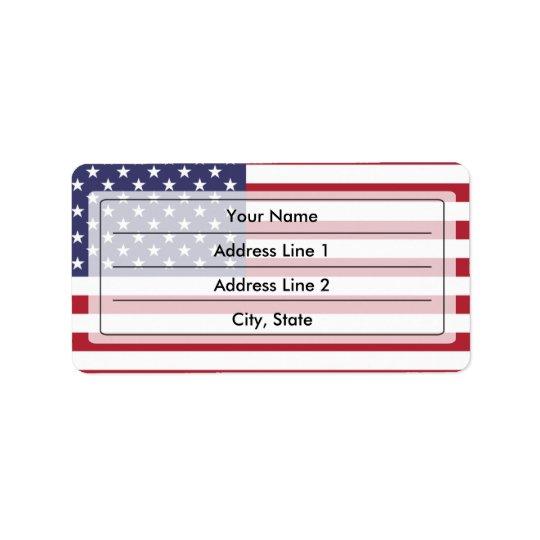 Bandera americana etiquetas de dirección