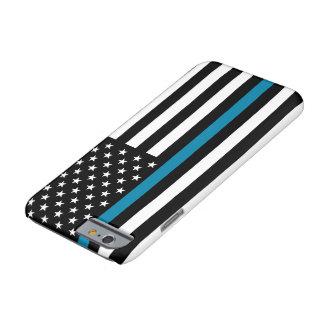 Bandera americana fina de Blue Line Funda Barely There iPhone 6