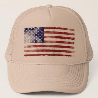 Bandera americana hecha andrajos del vintage gorra de camionero