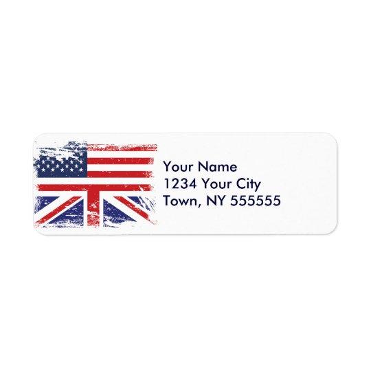Bandera americana inglesa 2 del Grunge Etiquetas De Remite