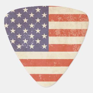 Bandera americana llevada batalla púa de guitarra