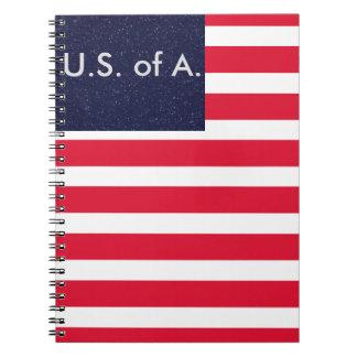 Bandera americana los E.E.U.U. cuadernos 4 de