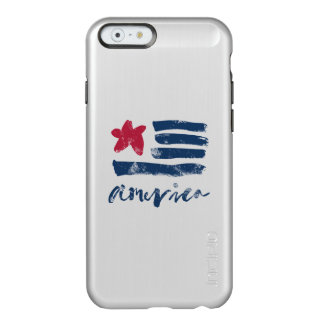 Bandera americana Paintstrokes Funda Para iPhone 6 Plus Incipio Feather Shine