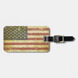 Bandera americana patriótica gastada etiqueta para maletas