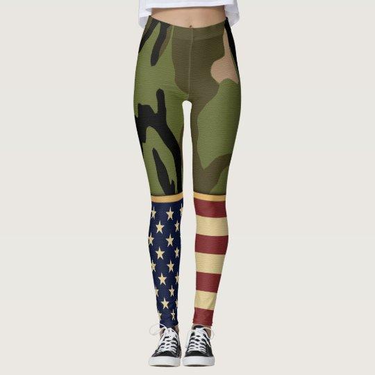 Bandera americana patriótica militar Camo Leggings