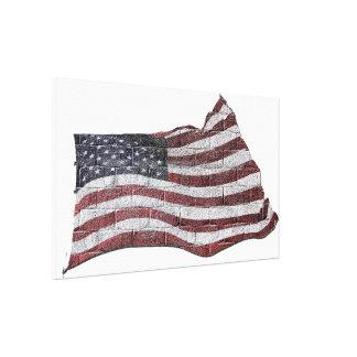 Bandera americana pintada en textura de la pared impresión en lona estirada