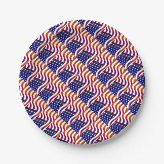 Bandera americana plato de papel