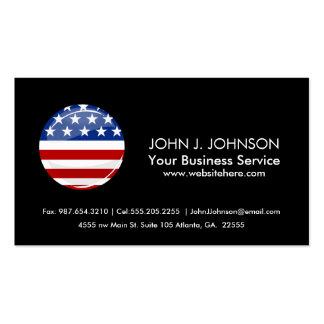 Bandera americana redonda brillante tarjetas de visita