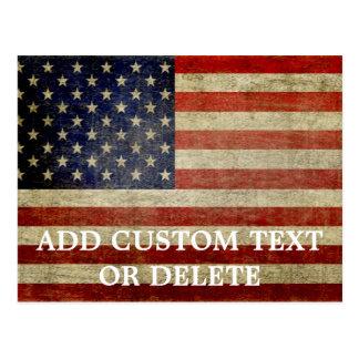 Bandera americana resistida, apenada postal